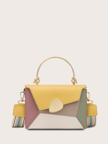 Metal Handle Color-block Satchel Bag