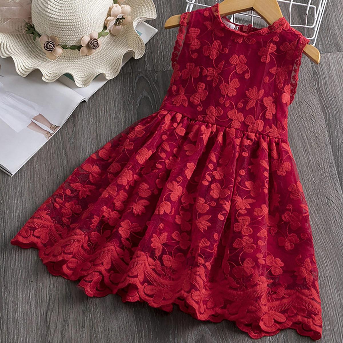 Платье без рукавов с молнией и цветочной аппликацией для девочек