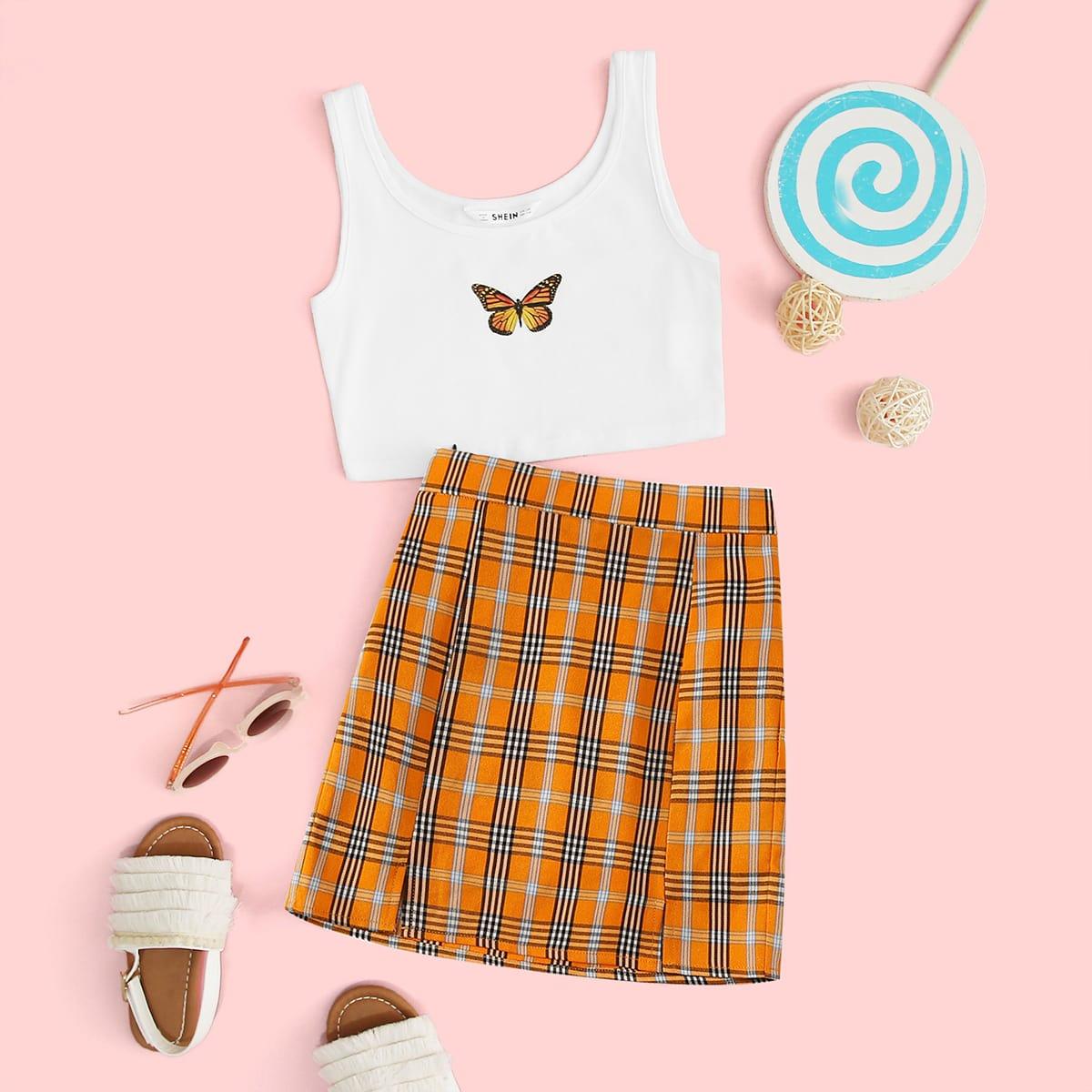 SHEIN / Mädchen Tank Top mit Schmetterling Muster und Rock Set