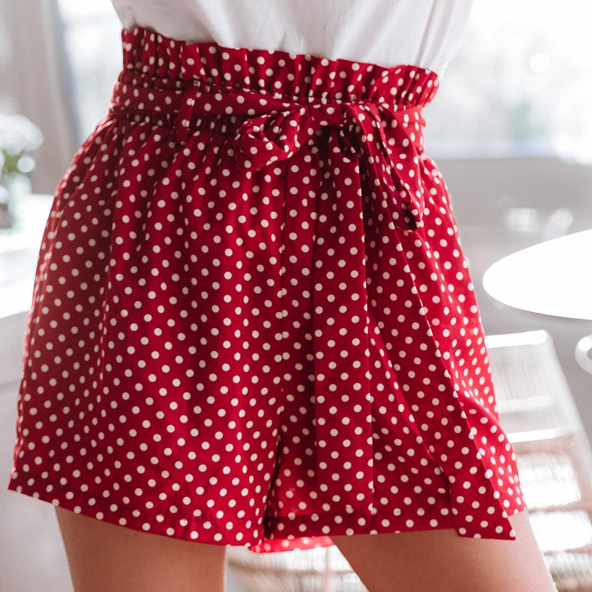 SHEIN / Shorts de lunares de cintura con volante