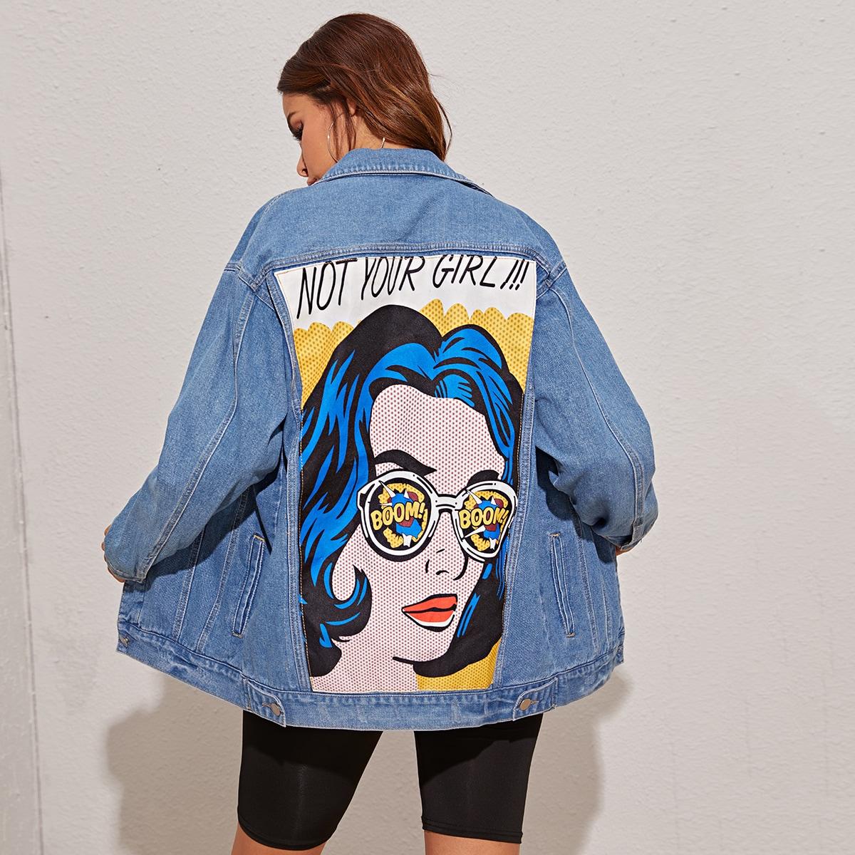 Джинсовая куртка с графическим принтом сзади