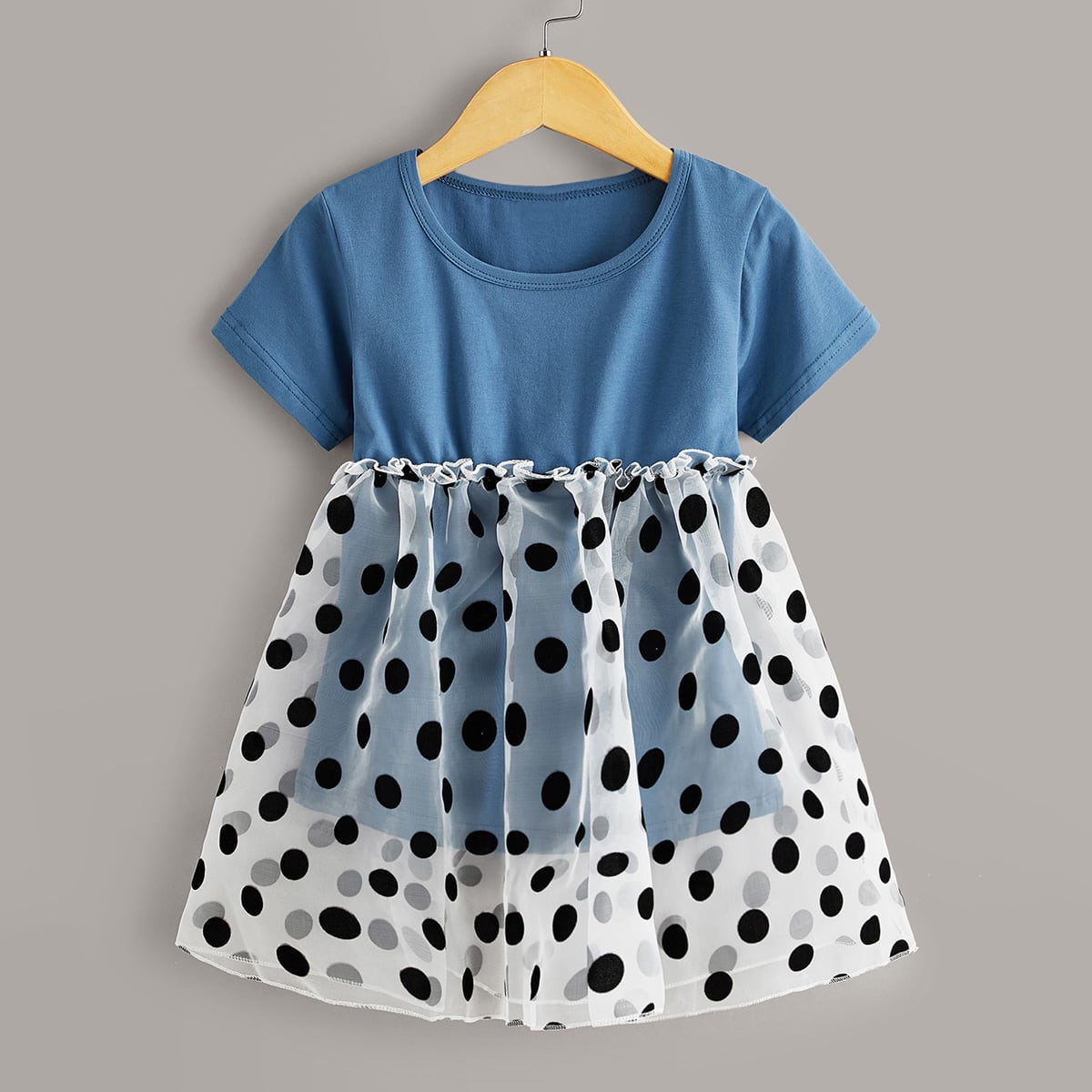 SHEIN / Toddler Girls Dobby Mesh Panel Frill A-line Dress