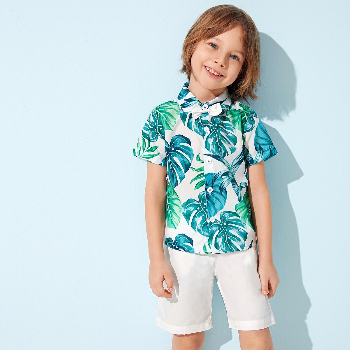 Шорты и рубашка с тропическим принтом и бантом дя мальчиков фото