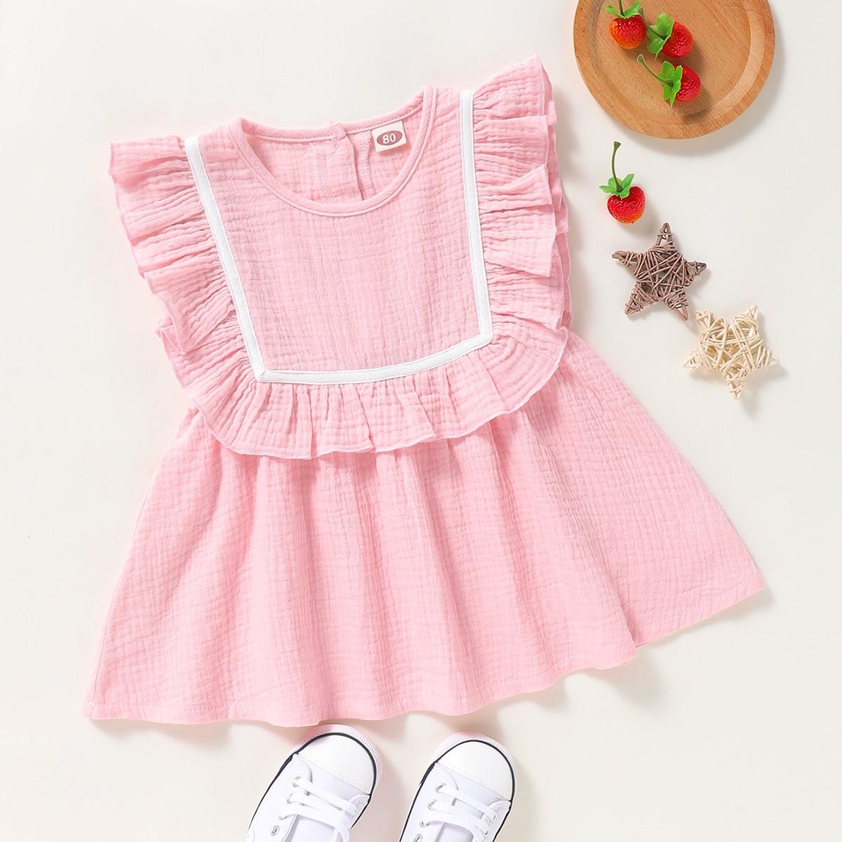 Платье с оборками и контрастной лентой для девочек от SHEIN