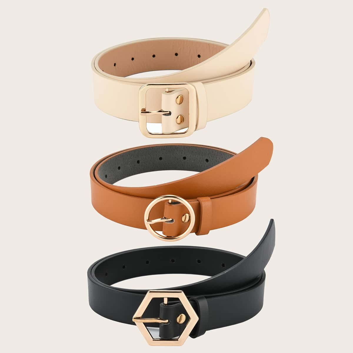 SHEIN / 3 Stücke Geometric Buckle Decor Solid Belt