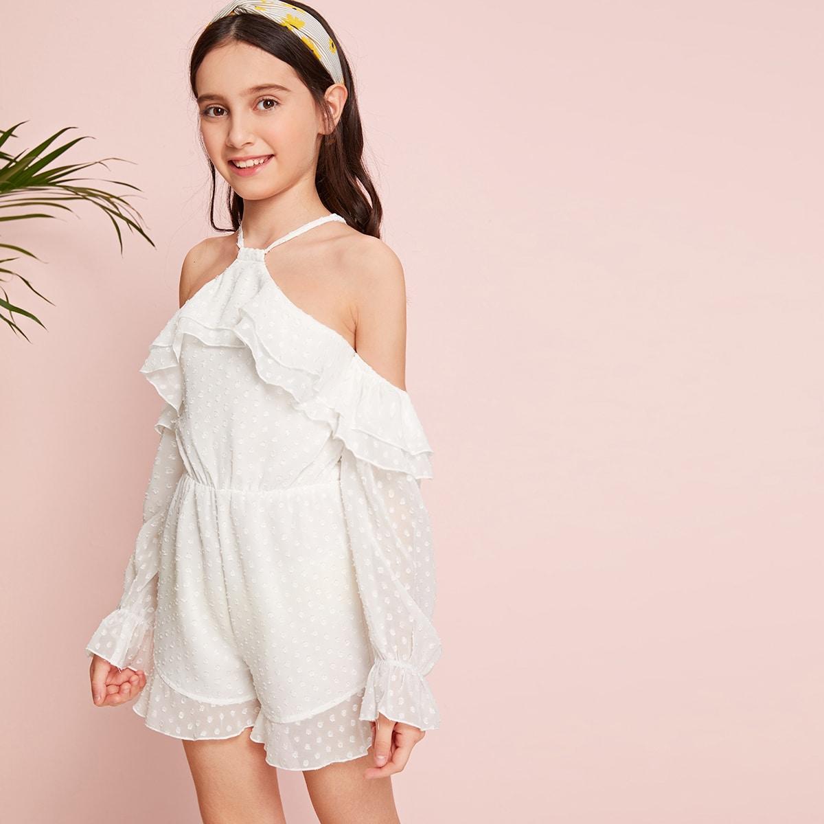 Комбинезон с открытыми плечами и оборками для девочек от SHEIN