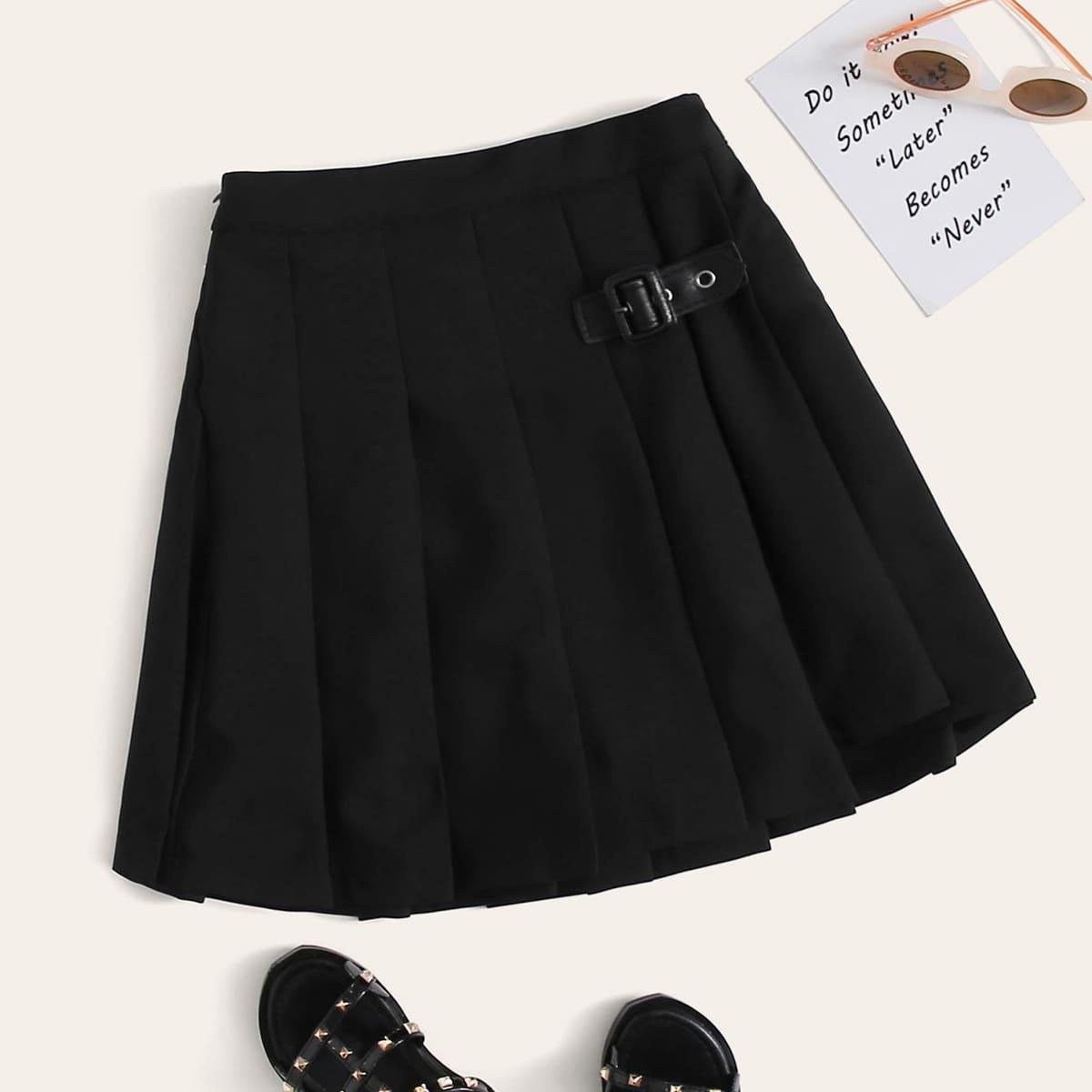 Плиссированная юбка с пряжкой для девочек от SHEIN