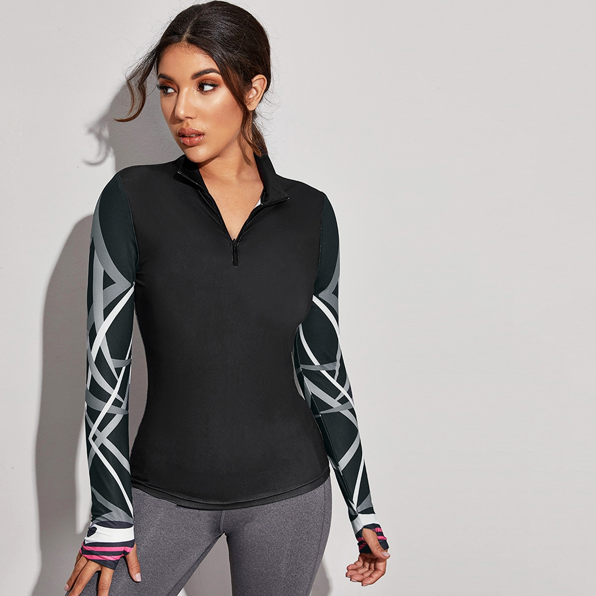 Zwart Grafisch Sport sweatshirts Rits
