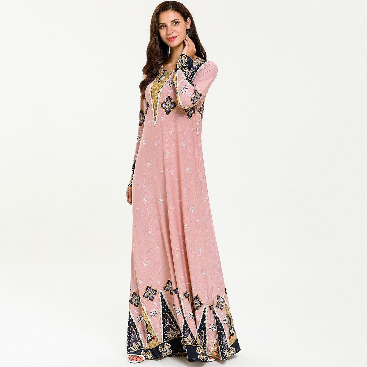 Платье макси с цветочным и племенным принтом фото