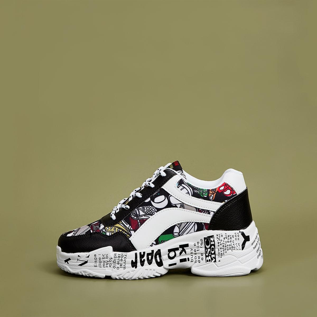 Обувь с принтом на шнуровке передние кроссовки от SHEIN
