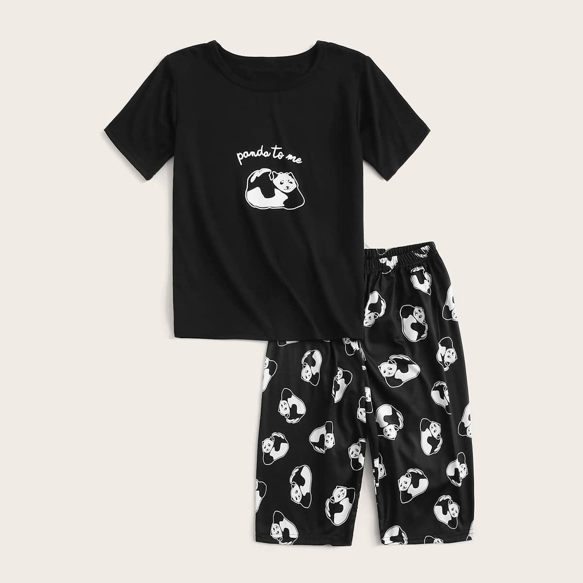 Пижама с текстовым и мультяшным принтом для мальчиков от SHEIN