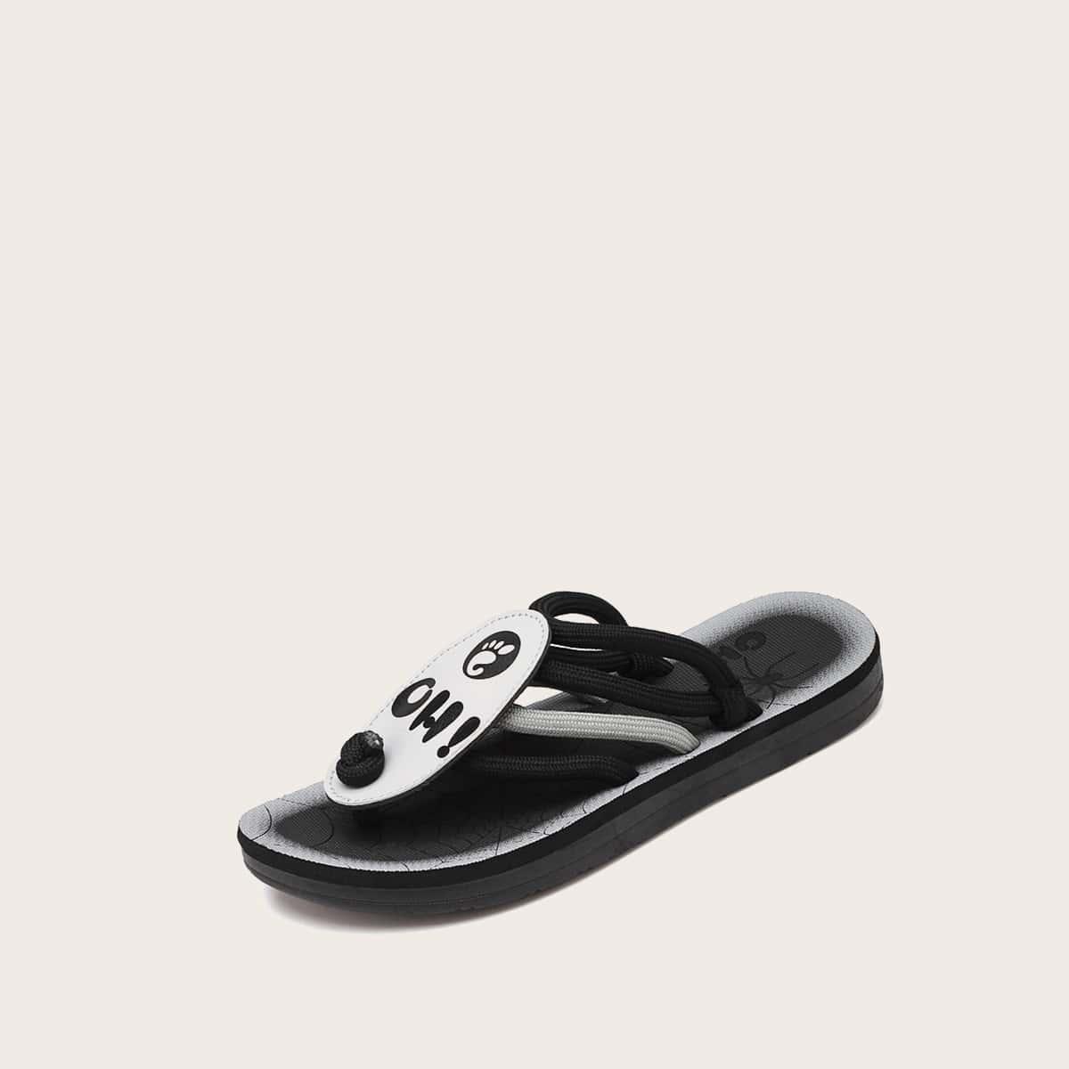 Mannen brief grafische teen Post sandalen