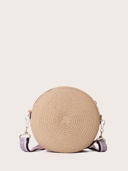 Round Woven Raffia Crossbody Bag