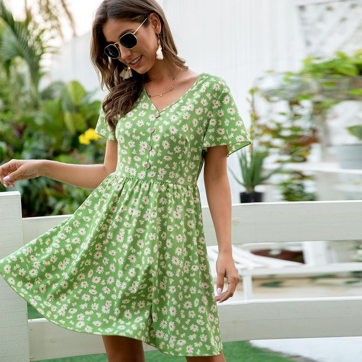 Цветочное платье с пуговицами фото