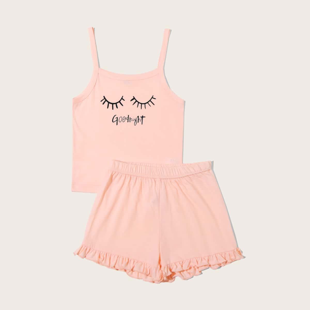Пижама с оборками и текстовым принтом для девочек от SHEIN