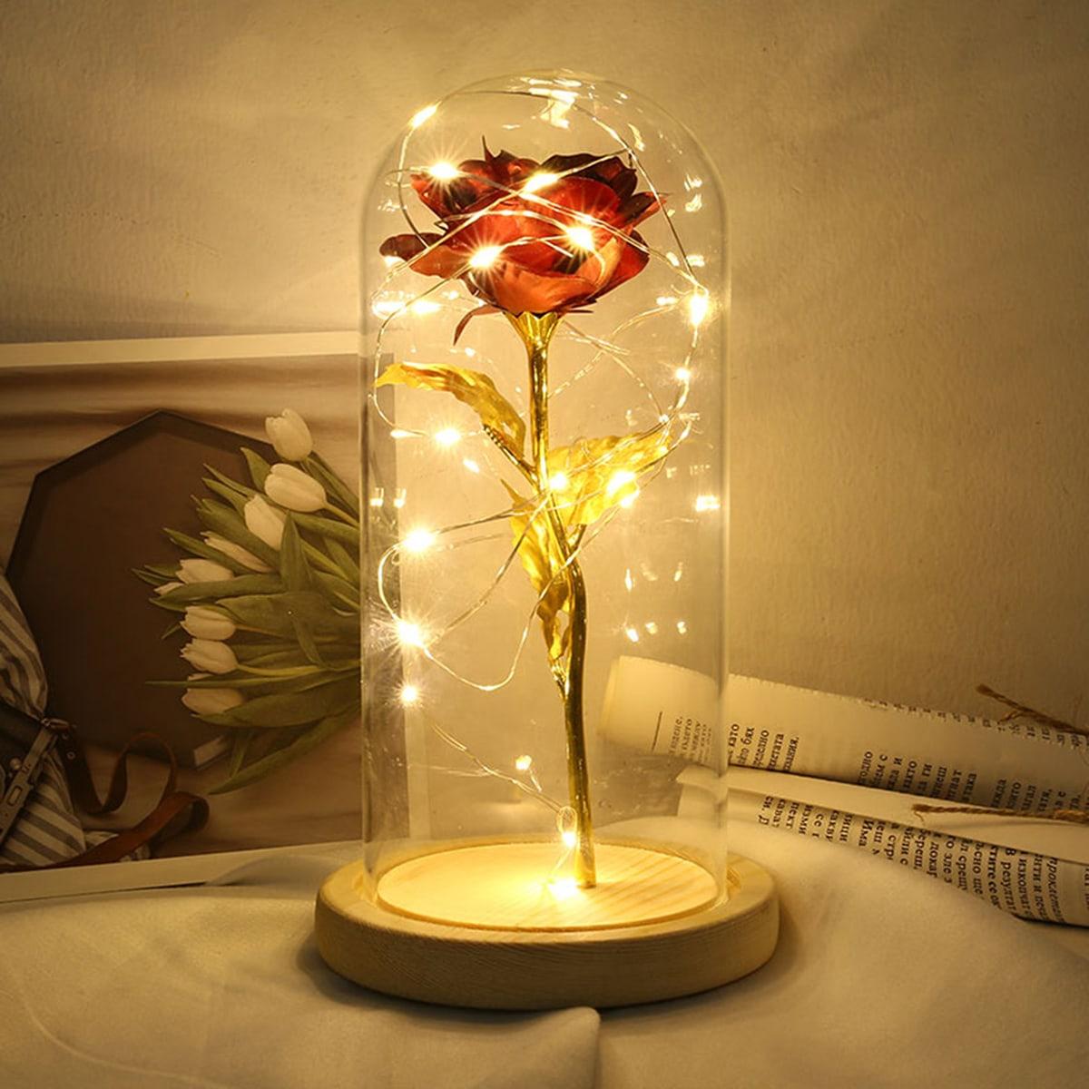 1pc Kunstmatige Rose Insert Glass Cover Lamp