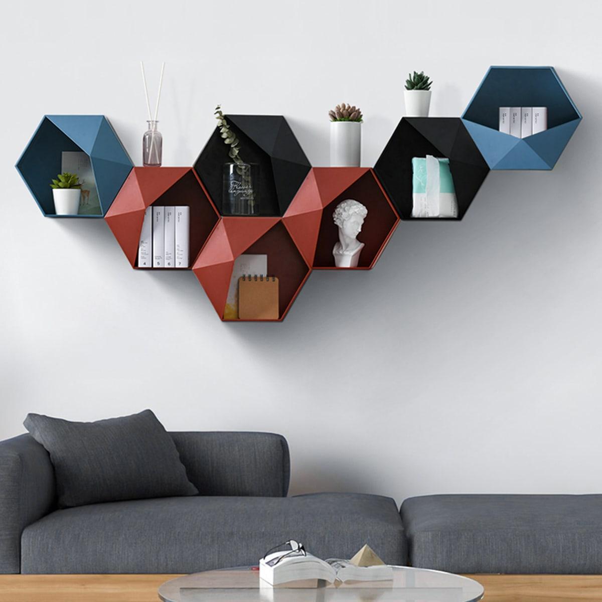 1pc wandgemonteerd geometrisch ontwerp opbergrek