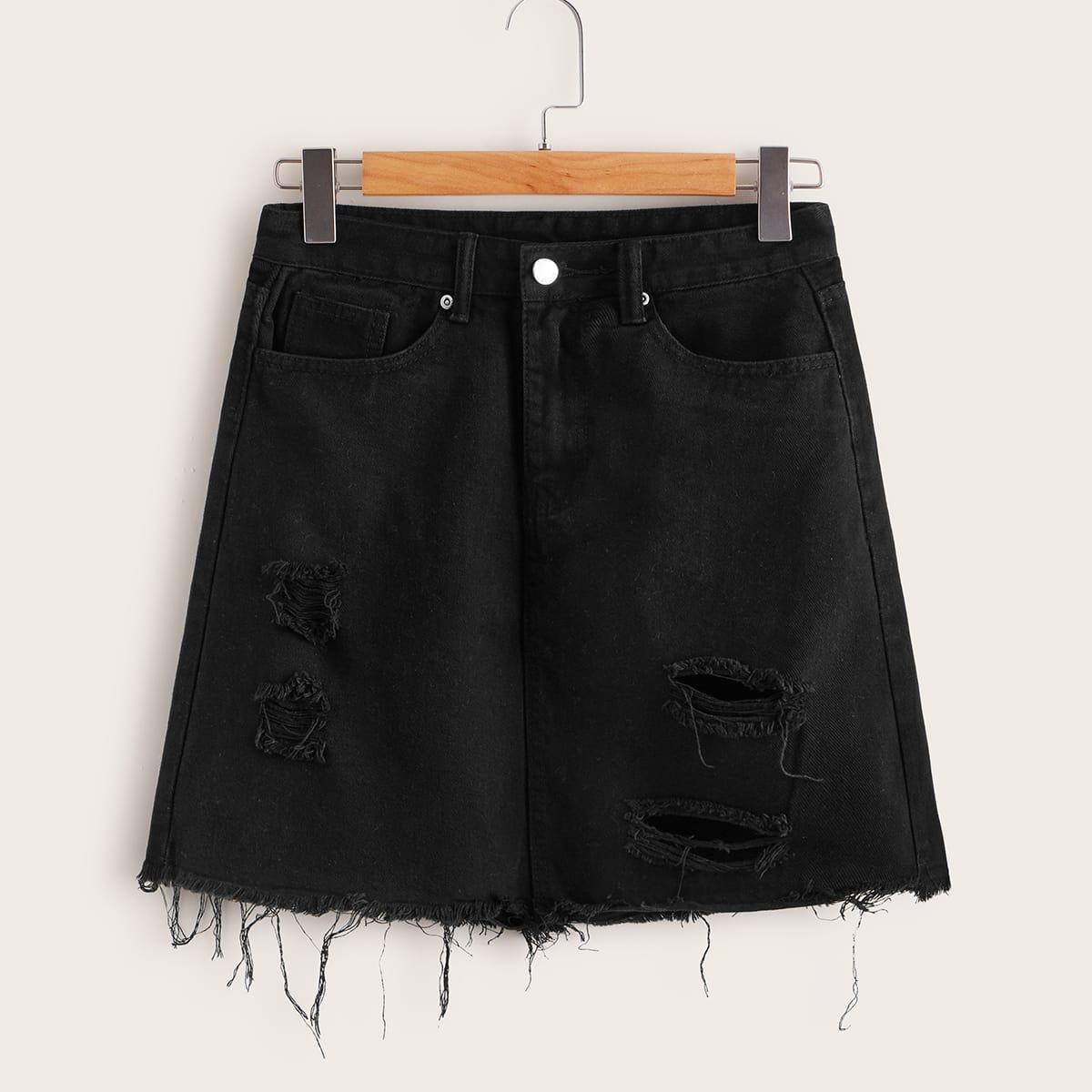 Рваная джинсовая юбка размера плюс