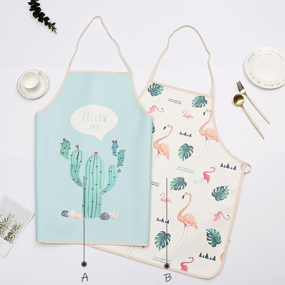 1pc PU-schort met cactus- en flamingoprint