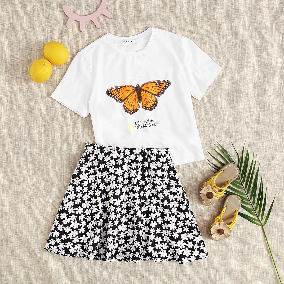 SHEIN / Mädchen Top mit Schmetterling und Buchstaben Grafik & Rock Set mit Knöpfen und Blumen Muster