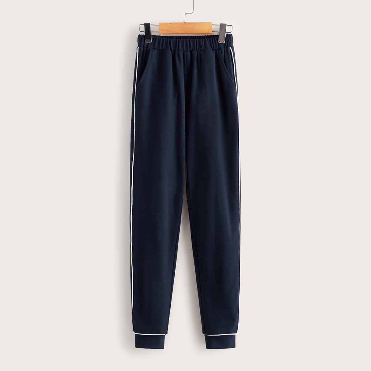 Спортивные брюки с контрастной стеганой отделкой для мальчиков от SHEIN
