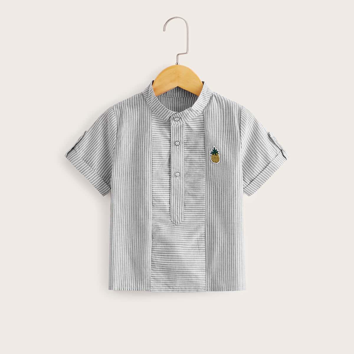 Полосатая рубашка с заплатой и пуговицами для мальчиков от SHEIN