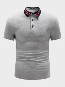 Collar   Stripe   Shirt   Grey   Polo   Gray   Men