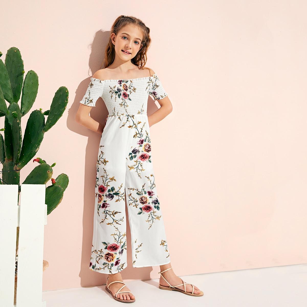 Цветочный широкий комбинезон для девочек от SHEIN