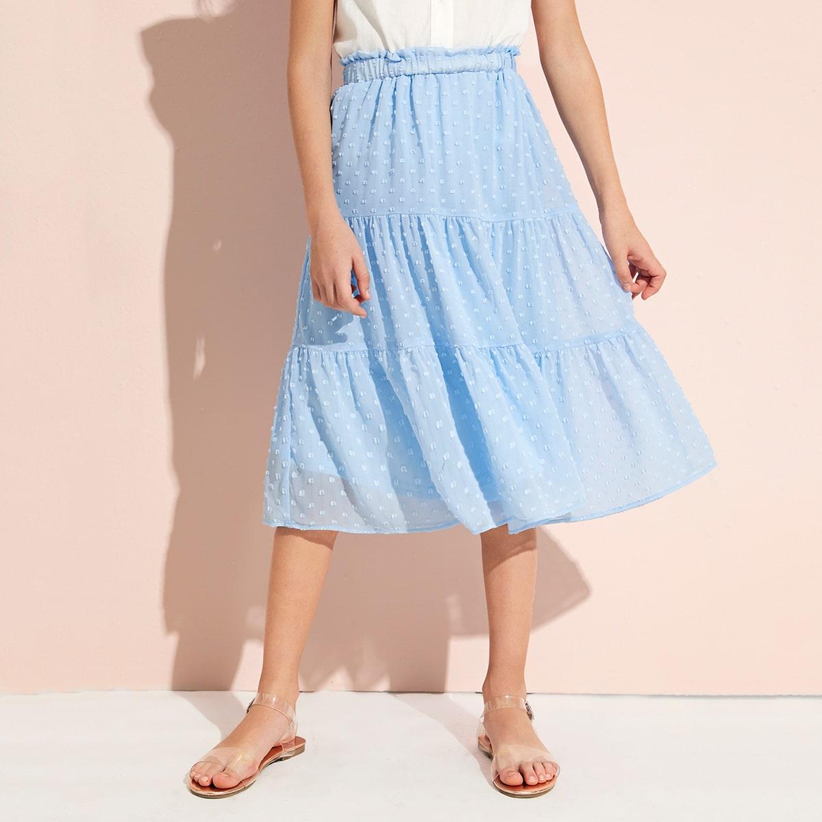 Многослойная юбка с присборенной талией для девочек от SHEIN