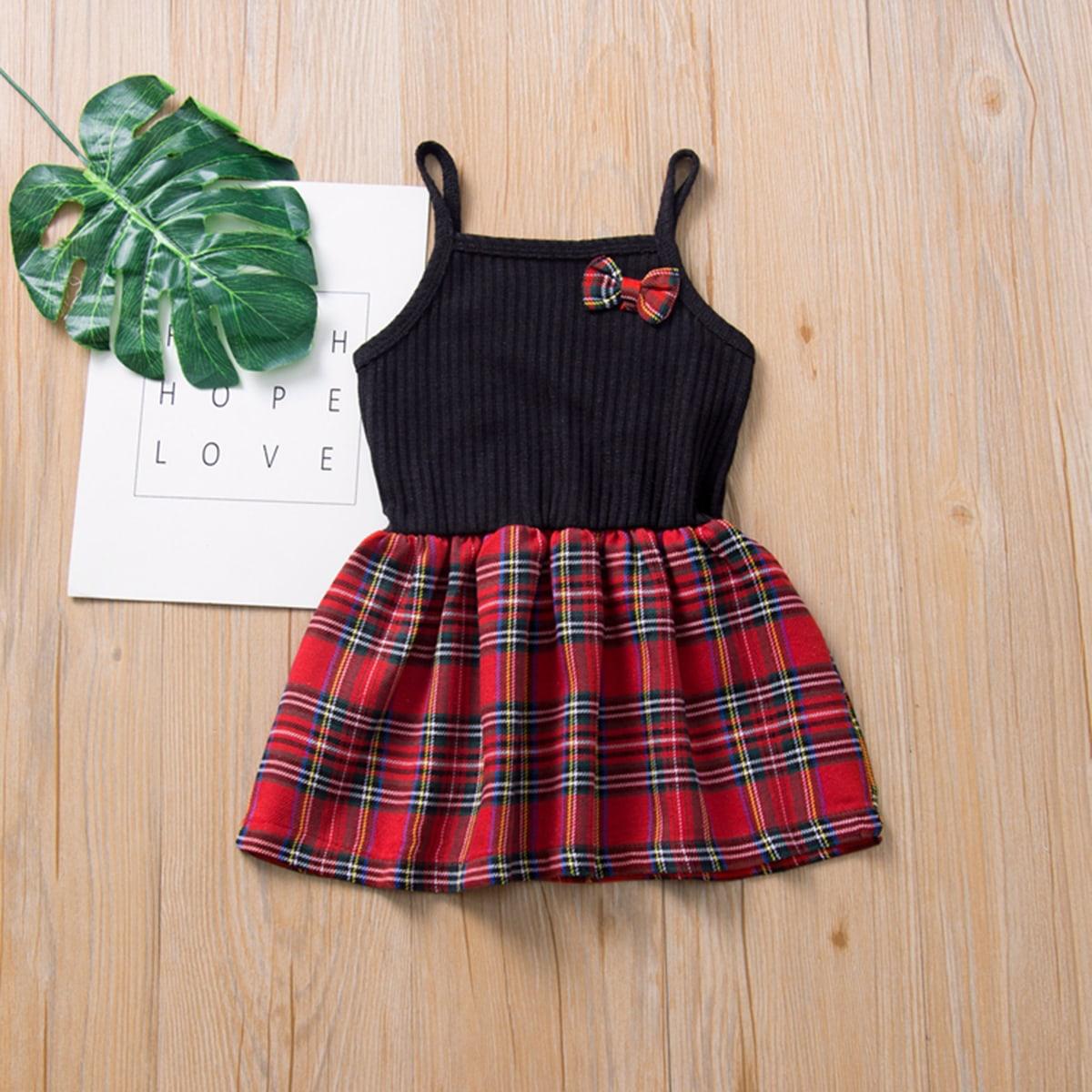 Вязаное платье на бретелях с бантом для девочек от SHEIN