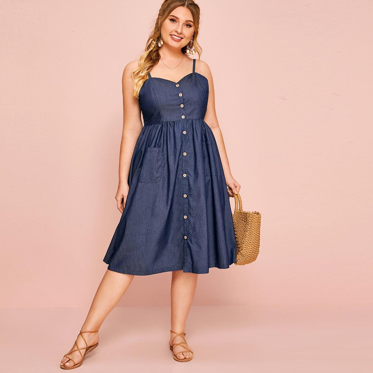 Джинсовое платье с пуговицами размера плюс фото