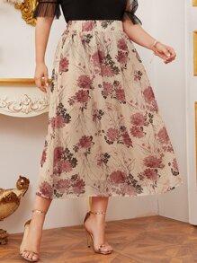 Chiffon | Floral | Skirt | Plus
