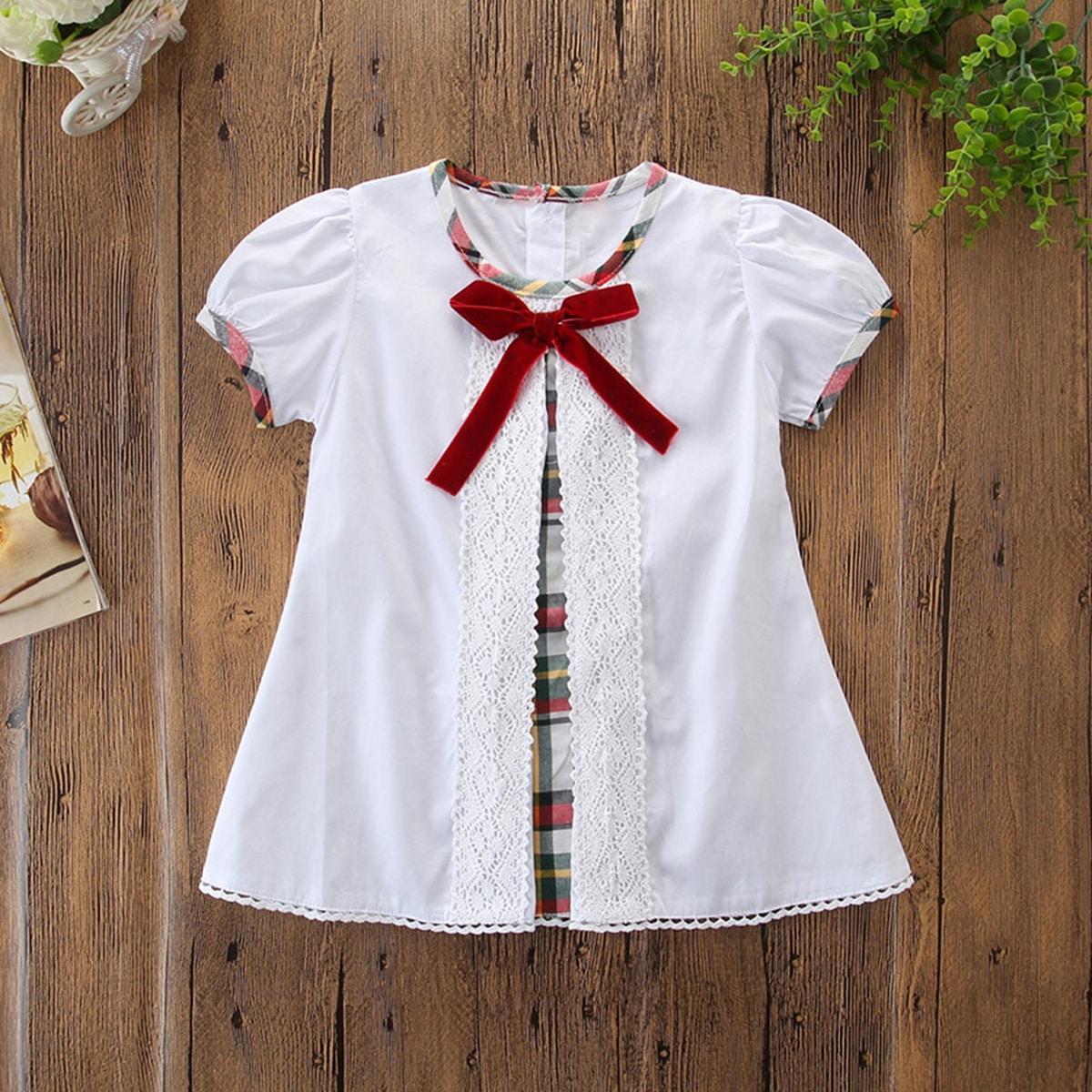 Блузка с узлом и кружевной отделкой для девочек от SHEIN