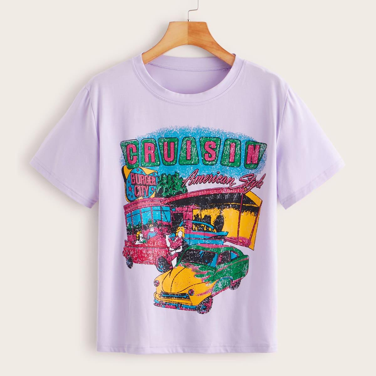 Paars Casual Spotprent T-shirt