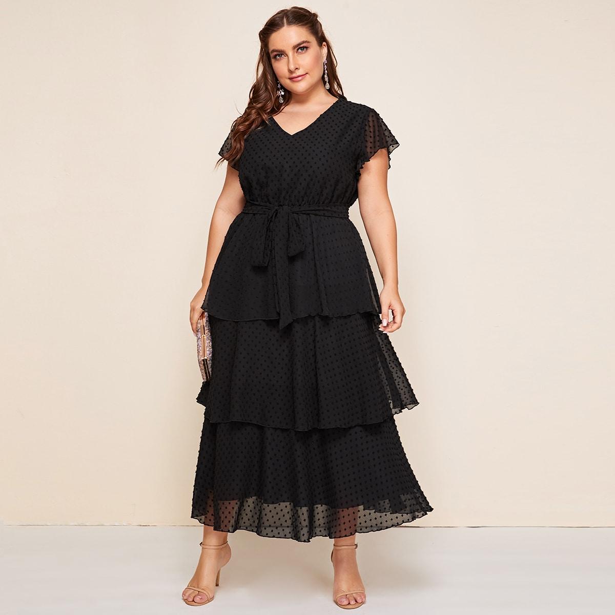 Стильное платье с поясом размера плюс фото