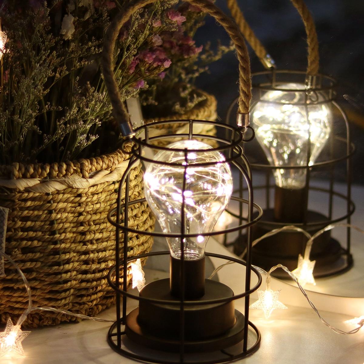 Holle ijzeren nachtlamp