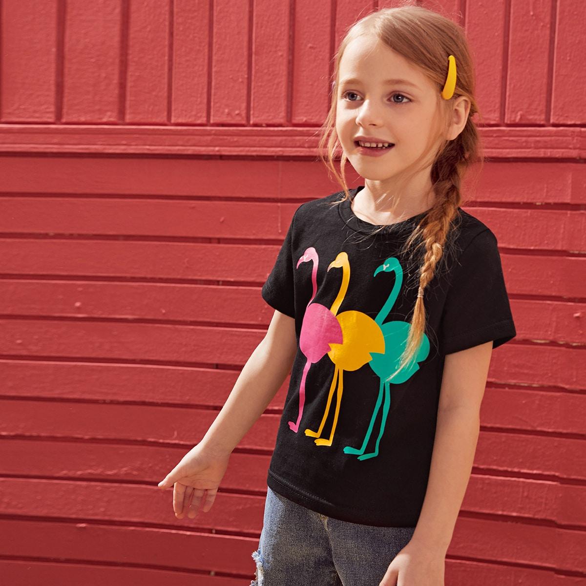 Футболка с принтом фламинго для девочек фото