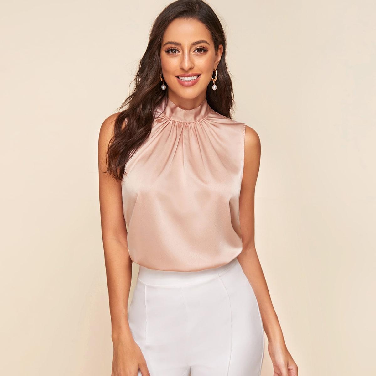 Розовый Галстук на спине Одноцветный Элегантный Блузы+рубашки от SHEIN