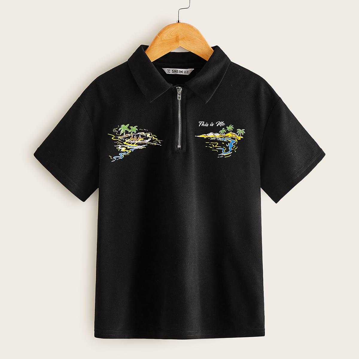 Рубашка-поло на молнии с оригинальным принтом для мальчиков фото