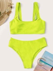 Swimsuit | Bikini | Yellow | Solid | Neon | Neck