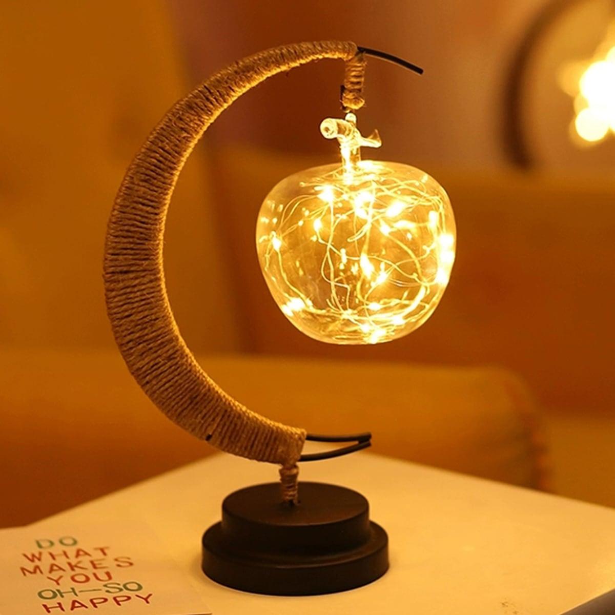 1pc Clear Apple Pendant Moon Design Nachtlampje