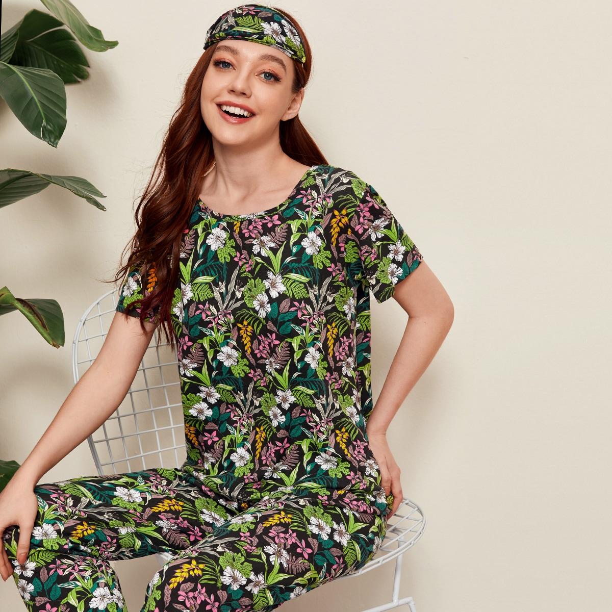 Пижама с коротким рукавом и тропическим принтом фото