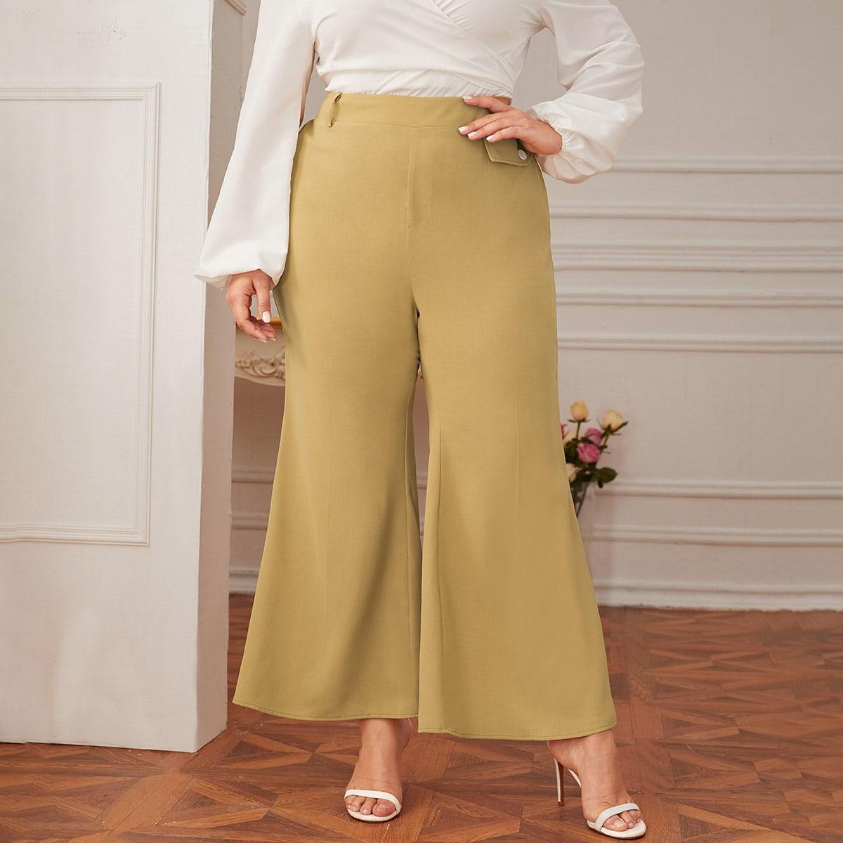 Однотонные расклешенные брюки размера плюс фото