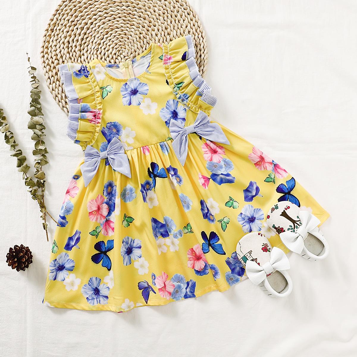 Цветочное платье с бантом для девочек
