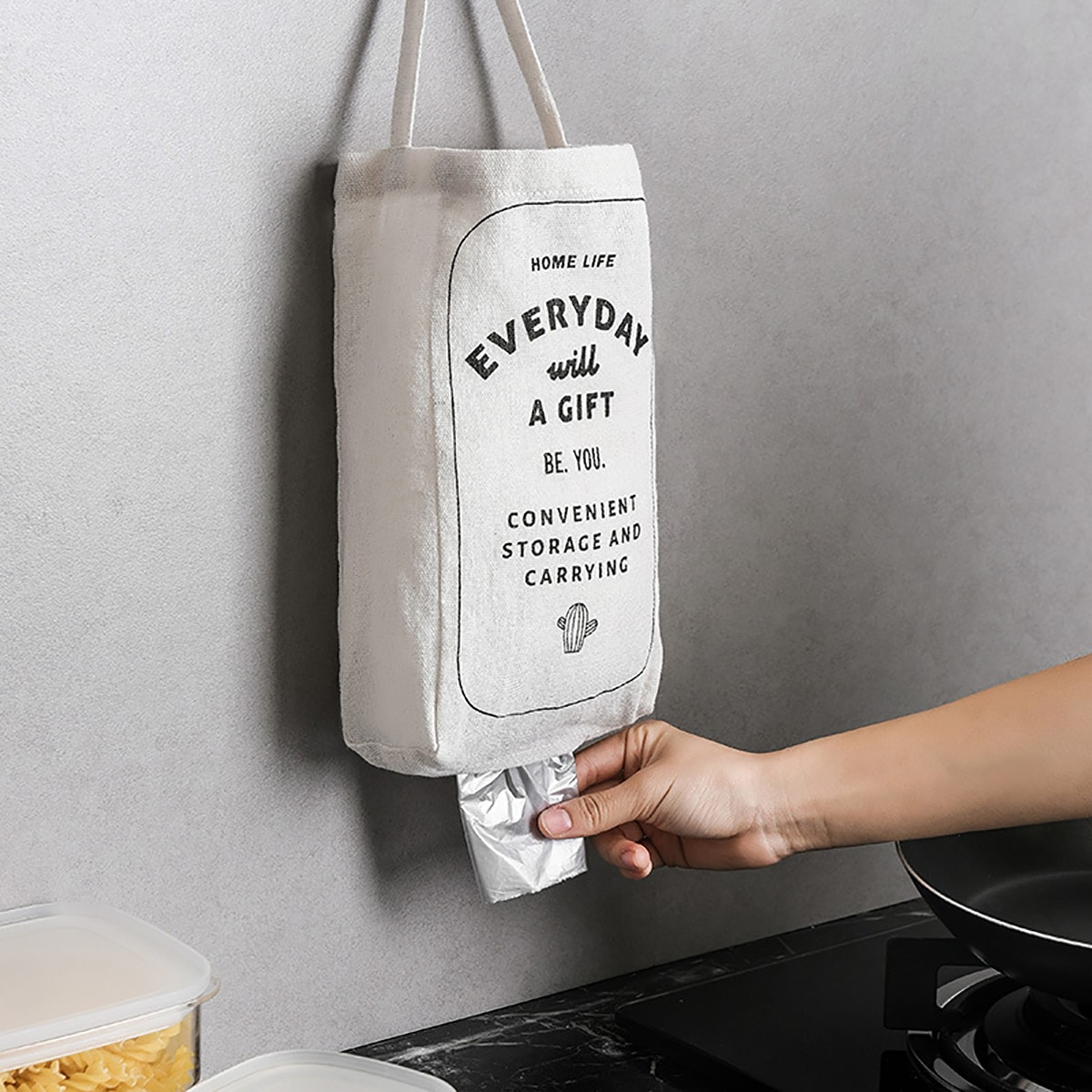 SHEIN / 1pc Slogan Graphic Trash Bag Storage