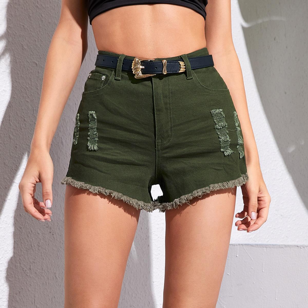 Рваные джинсовые шорты без пояса