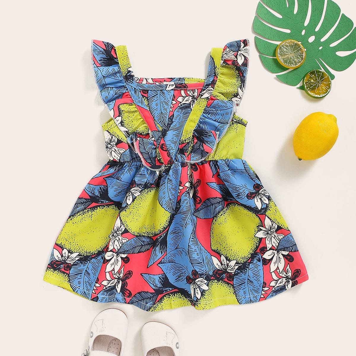 Расклешенное платье с оригинальным принтом для девочек от SHEIN