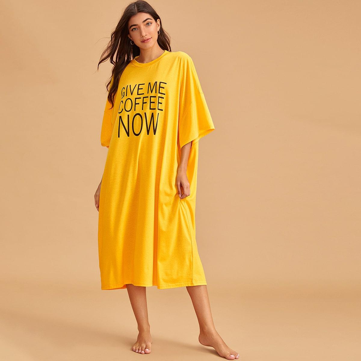 Geel Casual Slogan Lounge jurken