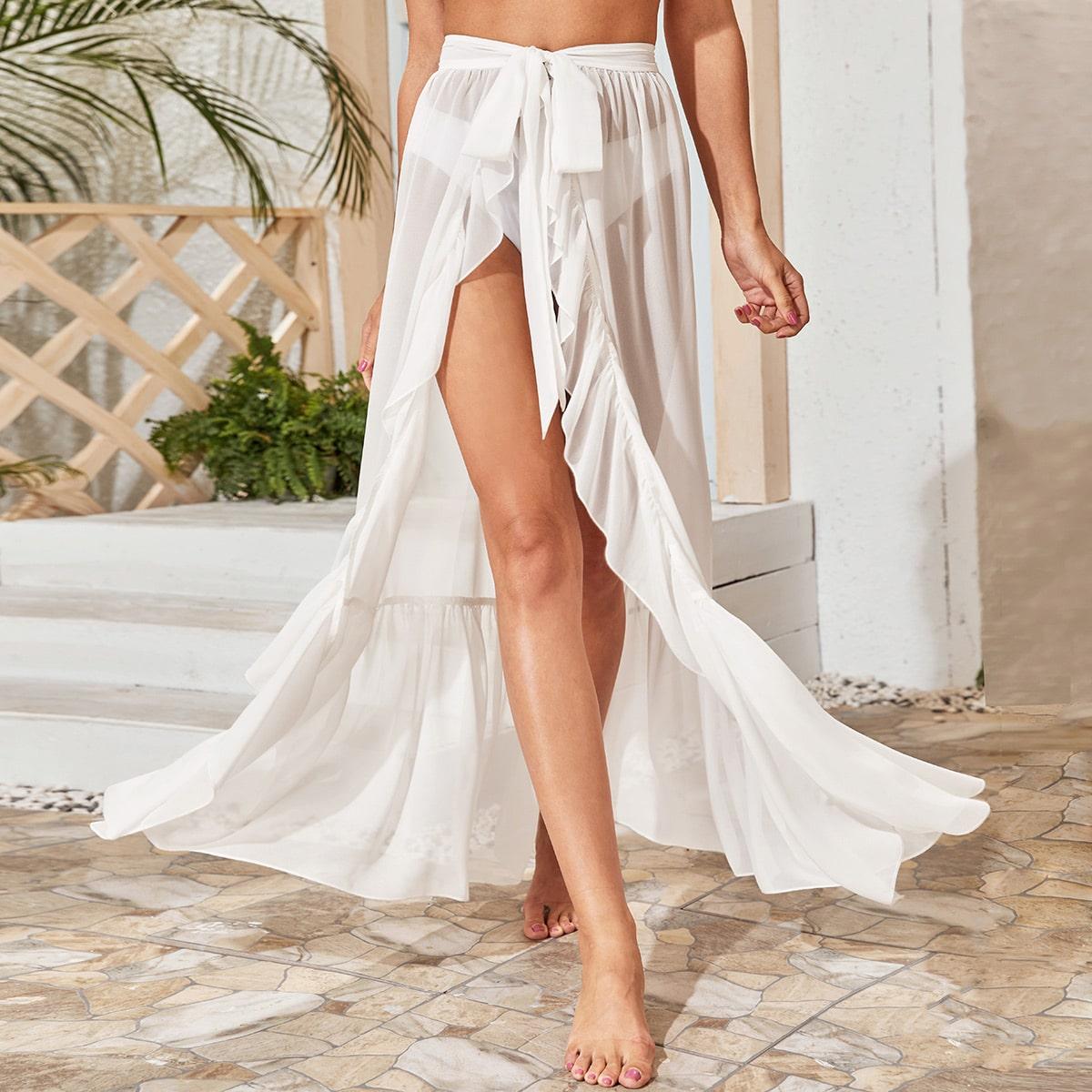Прозрачная накидка-юбка на запах без бикини фото