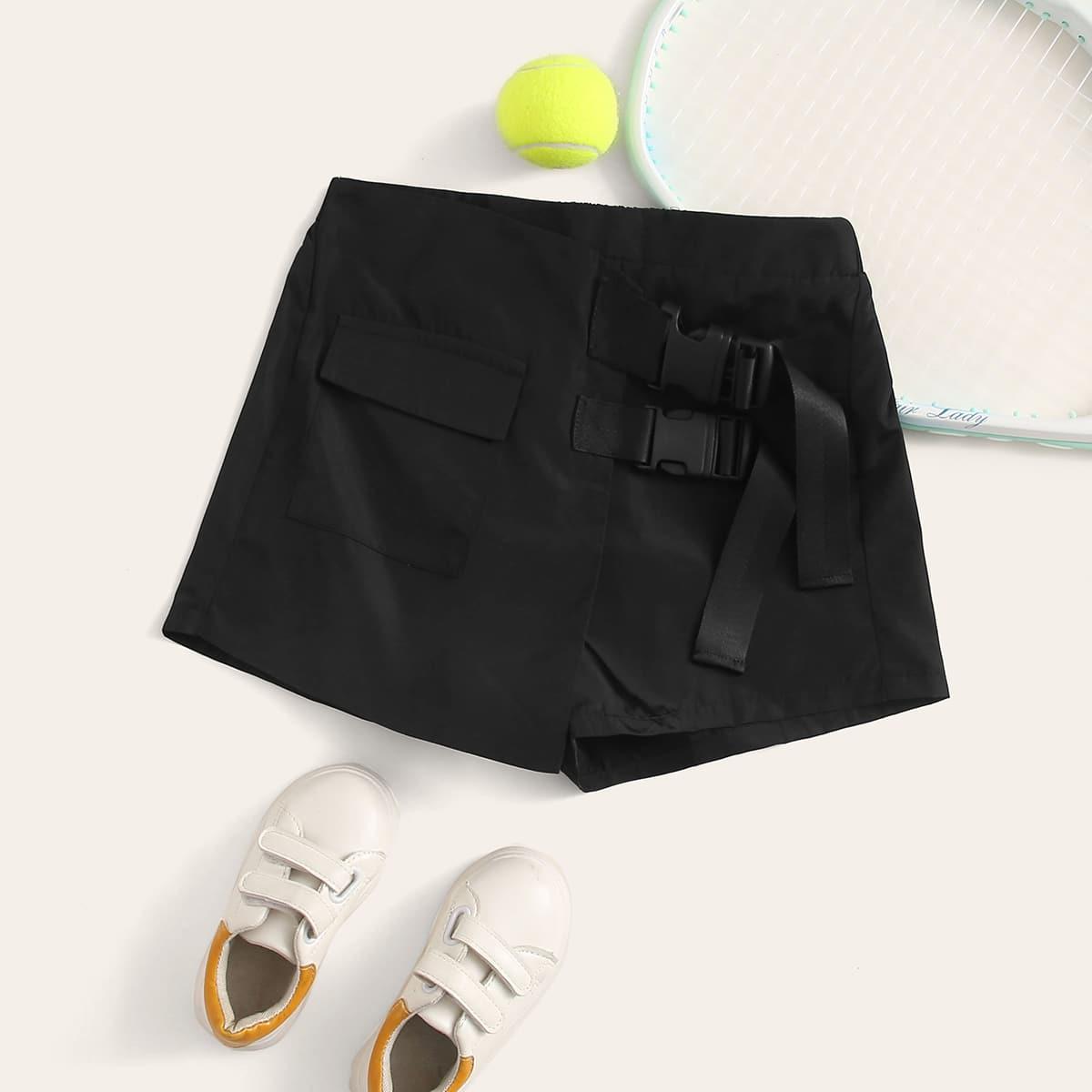 Юбка-шорты с поясом и карманом для девочек от SHEIN